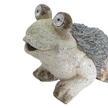 12 Inch Solar Frog Statue
