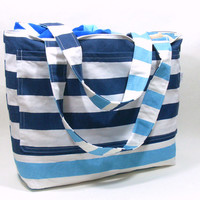 Extra Large Beach Bag in Navy and Coastal Blue