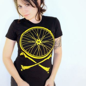 Bike Wheel and Crossbones TShirt  Chartreuse by darkcycleclothing