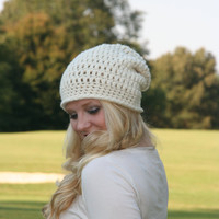 Beanie Hat / The Exeter / Shimmer Crochet Slouchy Beanie Hat  Ivory