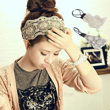 Hot Womens Romantic Retro Fabric Lace Wide Stretch Hair Band Headband Headwrap = 1946590212