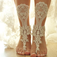 Free Ship ivory beaded  lace Barefoot Sandals, french lace, Beach wedding barefoot sandals