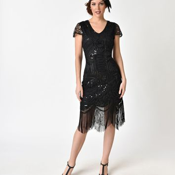Unique Vintage Black Beaded Cap Sleeve Chantal Fringe Flapper Dress