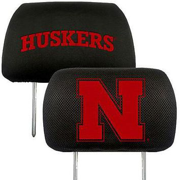 Nebraska Huskers 2-Pack Auto Car Truck Embroidered Headrest Covers