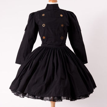 Steampunk Dress Military Lolita Gothic Dress Black  with Gears Custom Size Made to Measure including Plus Sizes