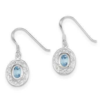 Sterling Silver Filigree Genuine Blue Topaz Oval Dangle Earrings