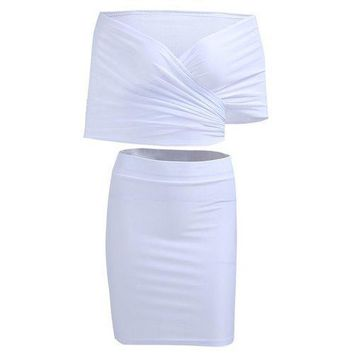 Wrap Crop Top and Pencil Skirt - White Xl