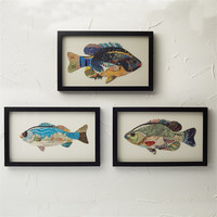 Framed Paper Collage Fish Wall Art