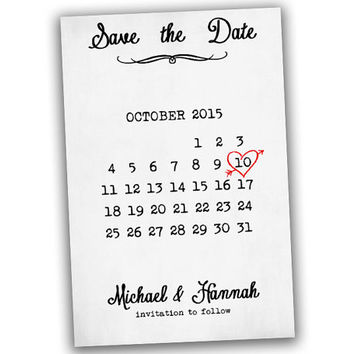 Printable Save The Date Postcard - Save The Date Template - Calendar - Heart - Custom - Personalized - Wedding Save The Date Cards