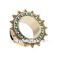 Pair of Bali Turquoise Sunburst Double Flared Ear Gauge Tunnel Plug