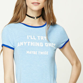 Try Anything Graphic Ringer Tee