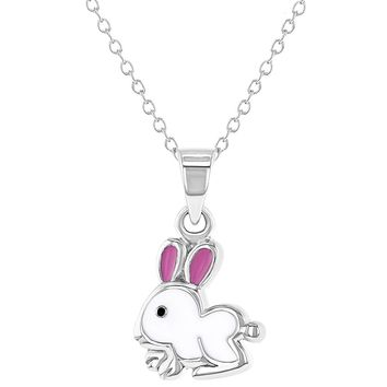 925 Sterling Silver White and Pink Enamel Bunny Necklace Pendant for Girls 16""