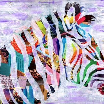Zebra Print - Girls room decor - Valentine gift ideas- Bohemian decor -Mixed media collage art -kids room decor-Whimsical art -kids room art