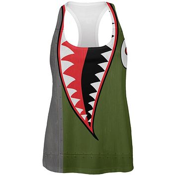 Halloween WWII Flying Tiger Fighter Shark Nose Art All Over Womens Work Out Tank Top