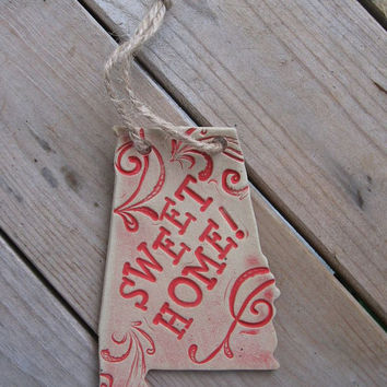 SWEET HOME Alabama pottery ornament. Handmade.
