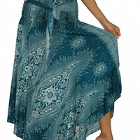 Women's Boho Skirts Maxi Dress Gypsy Dress Skirt Rayon Dress Skirt Hippie Dress Summer Beach Dress Long Skirt Bohemian Peacock Turquoise