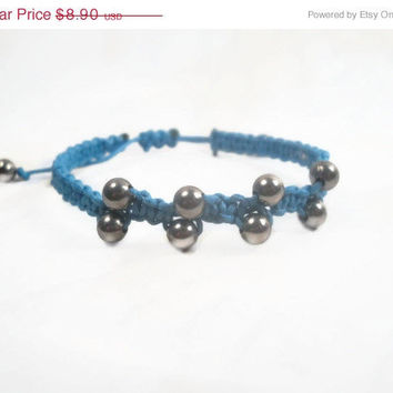 Christmasinjuly CIJ Blue Macrame Bracelet Adjustable Beaded Bracelet