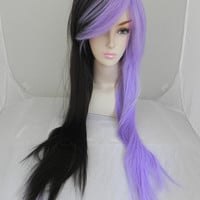 SHOP-WIDE SALE Lavander Violet and Black / Extra Long Straight Split Wig