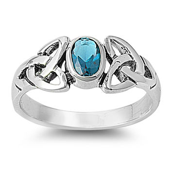 925 Sterling Silver CZ Wicca Celtic Triquetra Simulated Aquamarine Ring 8MM