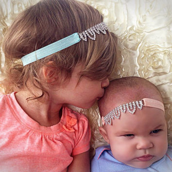 Rhinestone Headband, Jeweled Headband, CHOOSE ELASTIC COLOR, Gorgeous Baby Headband, Wedding Flower Girl Accessories, Newborn Photo Prop