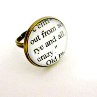 The Catcher In The Rye Quotes Book Page Jewelry Ring Rye And All Upcycled Altered Book Art Jewelry Classic Literature for Book Lover