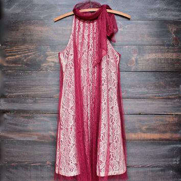 Ryu lace bound dress in merlot