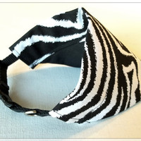 Over the Collar Dog Bandana - Black and White Zebra Print - Wild Things