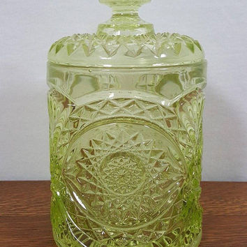 Imperial Glass Hobstar Biscuit Candy Cookie Jar