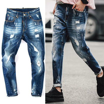 Fashion Men Brand Cotton Repaired Distressed Paint Carpenter Jeans High Quality Skinny Ripped Denim Jeans Slim Feet Pants Jeans