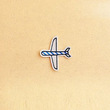 Airplane Patch - Iron on patch -Sew On patch - Embroidered Patch (Size 6.5cm x 7.4cm)