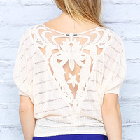 Mesh Back Detail Knit Dolman Top