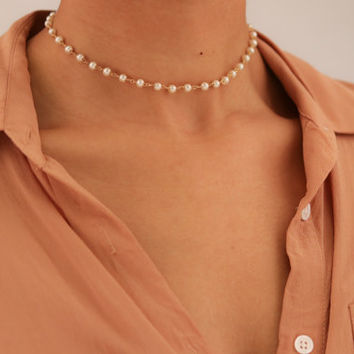 Dainty Pearl Chain Choker Necklace - Dainty Gold Necklace - Pearl Necklace - Layering Necklace - Gift for Her - Gemstone Chain
