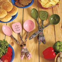 Kitchen Utensil Set 3 Pc. Camo Pink Green Silicone Heat & Stain Resistant NEW