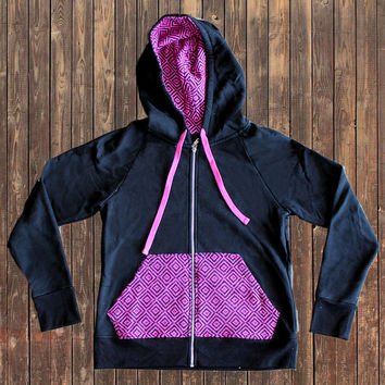Nomad Tribe Nazca Black&Pink hoodie, Peruvian cotton and Alpaca wool pocket
