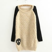 Beige Cortical Skull Loose Retro Twist Sweater