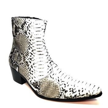 Fiesso Patent Python Snake Ankle Boots