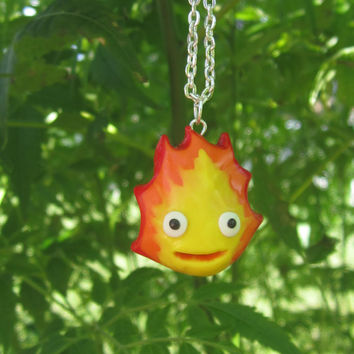 Studio Ghibli Inspired - Calcifer necklace or keychain from Howl's Moving Castle!
