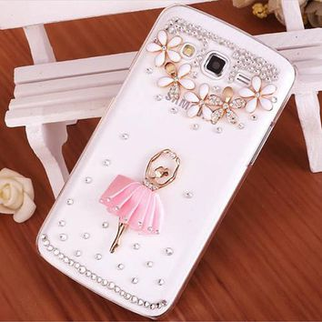 Luxury 3D Ballet Girl bling Crystal diamond Mobile phone Shell Skin Back Cover PC Hard Case For Samsung Galaxy J5 Case Duos J500