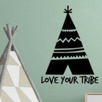 Love Your Tribe Vinyl Wall Decal Sticker with Boho Bohemian Tee Pee Graphic