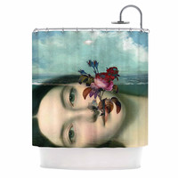 "Suzanne Carter ""Emerge"" Blue Floral Shower Curtain"
