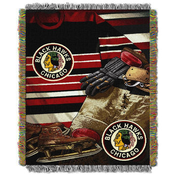 Chicago Blackhawks NHL Woven Tapestry Throw (Vintage Series) (48x60)