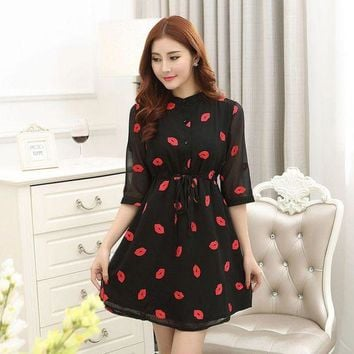 DCCKIHN New Fashion Women Short Sleeve Red Dress Lips  Printed Cozy Clothing Casual Dresses