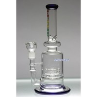 "Flame 11"" Glass WaterPipe with Disc Percolator and Oil Accessories - Flame Glass Bongs - 74.99 US and Canada"
