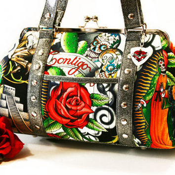 Black Day of the Dead Purse with Your Choice of Vinyl, Rockabilly Handbag, Contigo - MADE TO ORDER