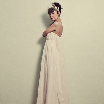 Vintage Inspired Chiffon Wedding gown The Elaine Gown by ktjean