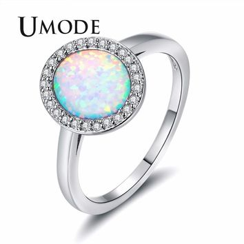 UMODE Fashionable White Fire Opal Rings for Womens Egg Princess Crystal Jewelry Femme Wedding Unique Bands Accessories UR0418