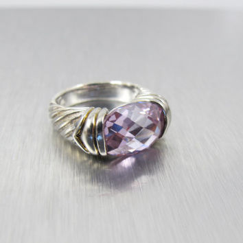 Sterling Silver Amethyst Ring, Oval Trillion Cut Faceted Open Back Amethyst Gemstone, February Birthstone, Size 7,
