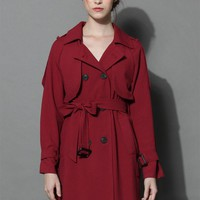Classic Double-breasted Trench Coat in Wine