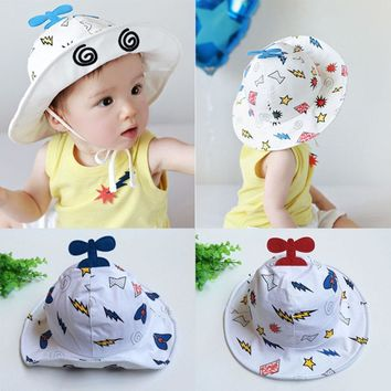 18ae56b785a Infant Boy Girl Aircraft Caps Cartoon Baby Cotton Wide Brim Buck