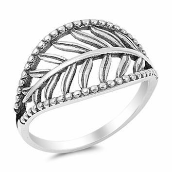 .925 Sterling Silver Feather Leaf Beaded Band Fashion Ring Size 5-10